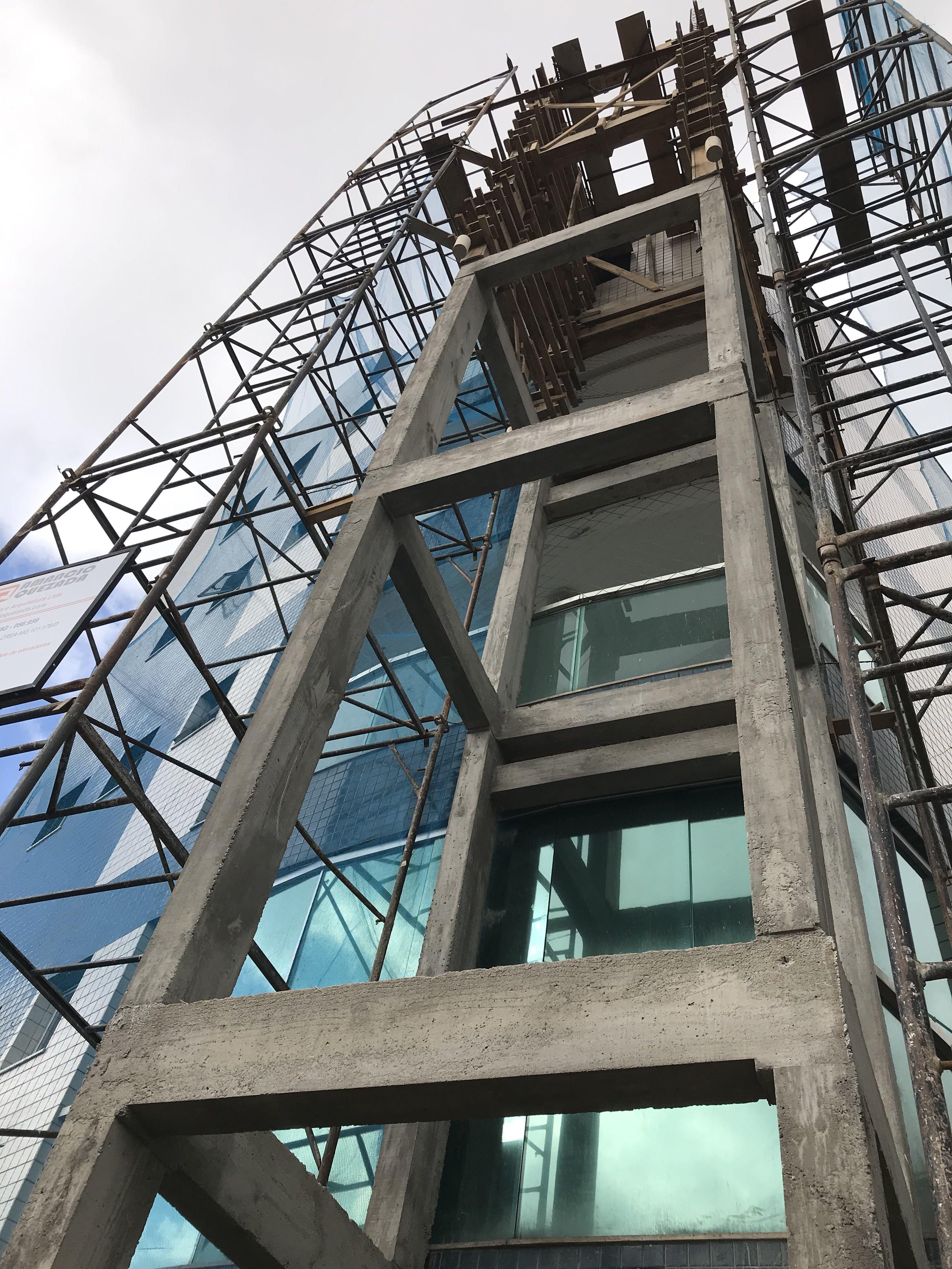 Infraestrutura em concreto armado para elevador