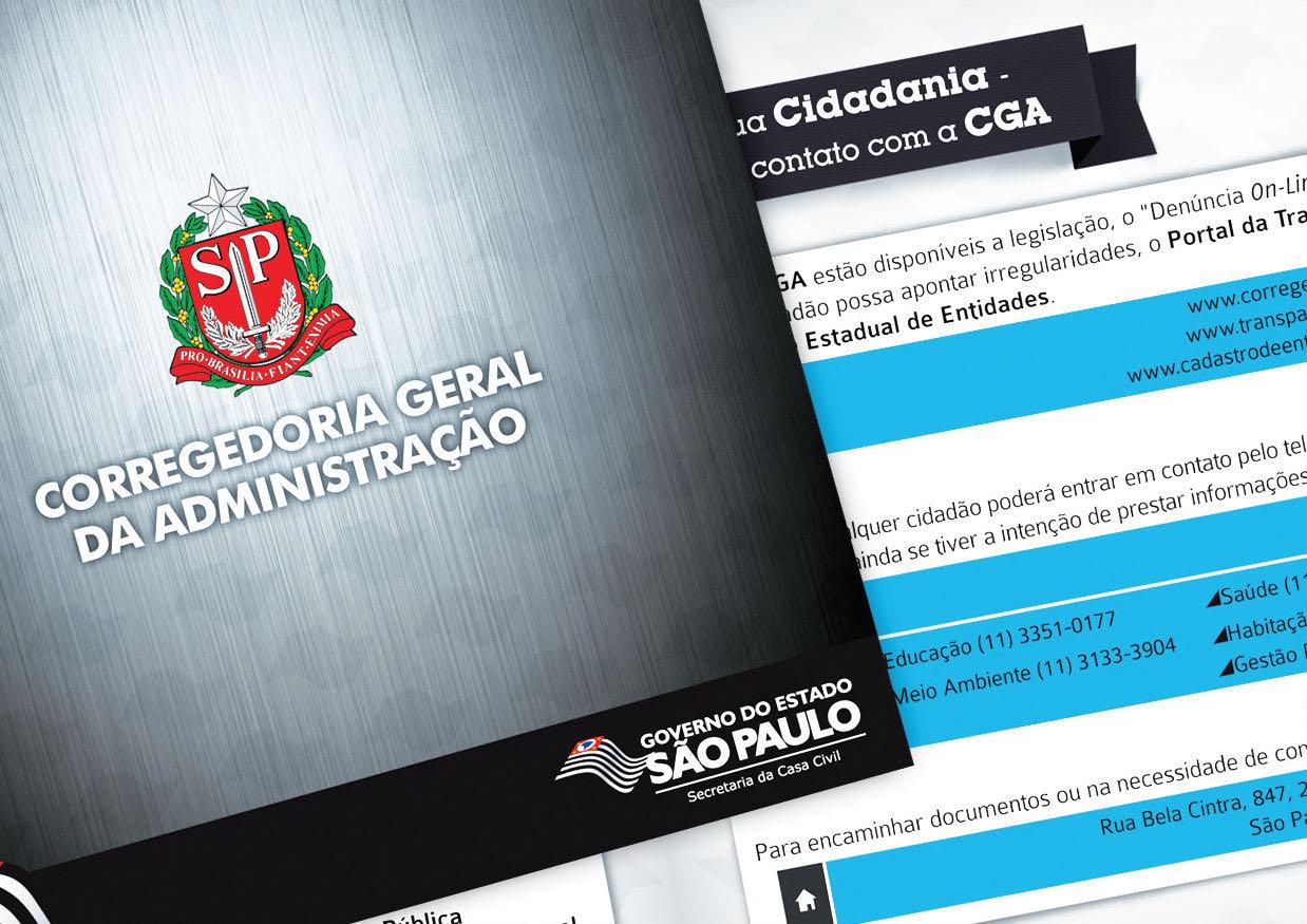 Folder institucional para CGA, Governo SP.