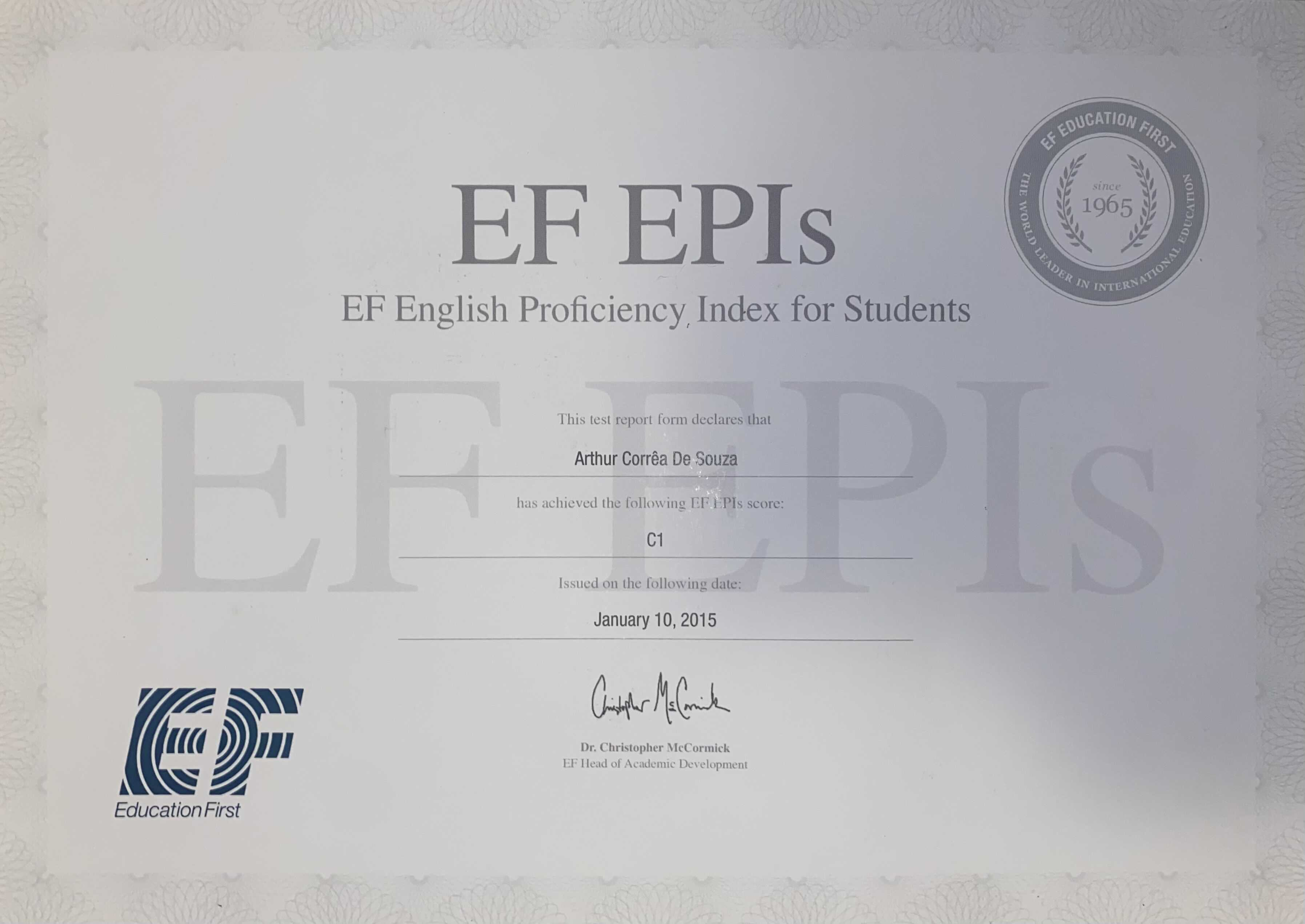 EF English Proficiency Index for Students / C1