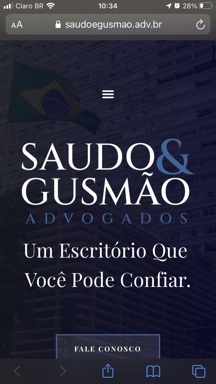 Desenvolvimento de Website responsivo para o escritório de advocacia Saudo e Gusmão.
