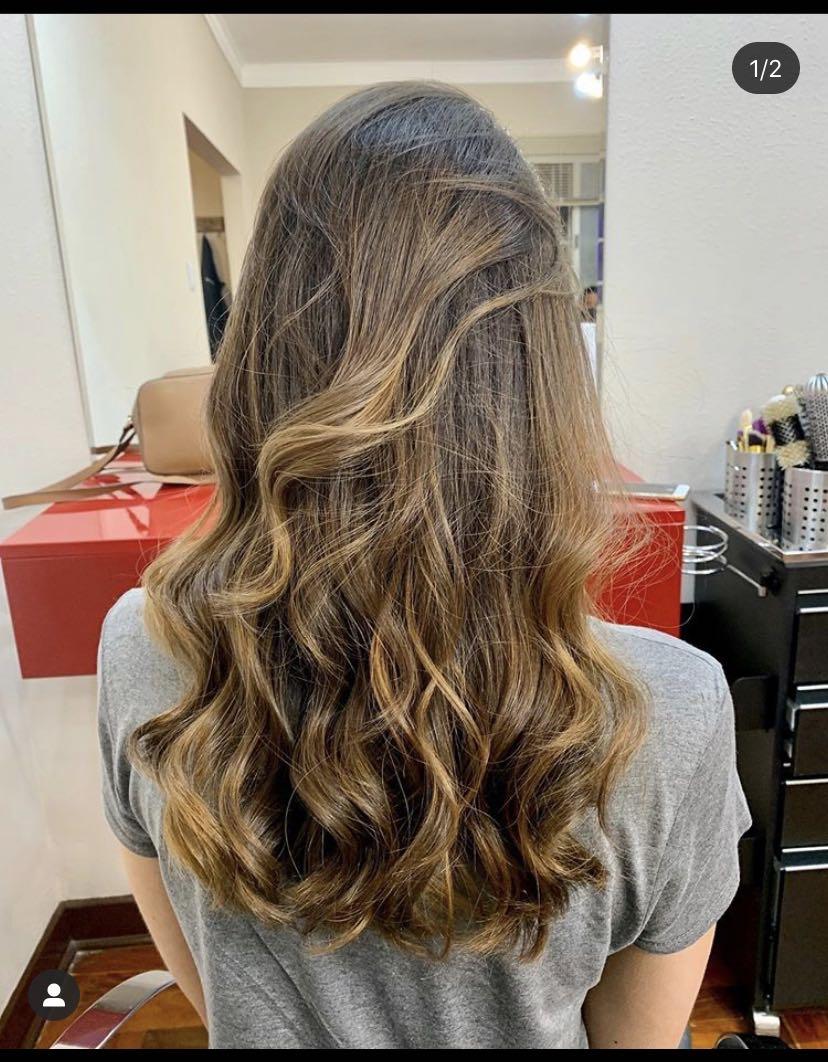 Balaiagem - Ombré hair feita com coloração.