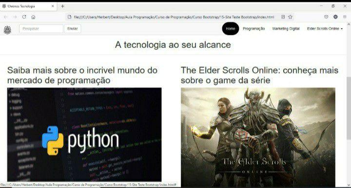 Parte visual do site