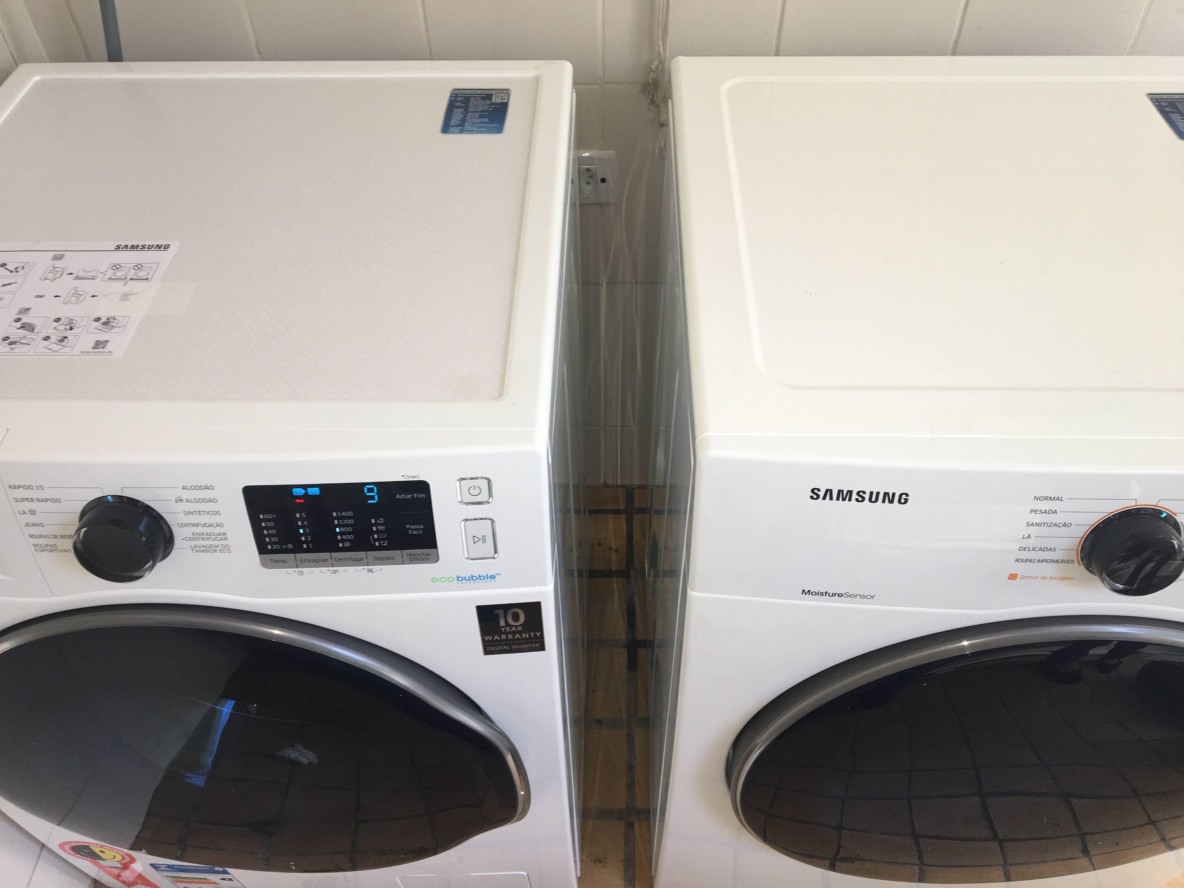Instalando lava roupa e secadora