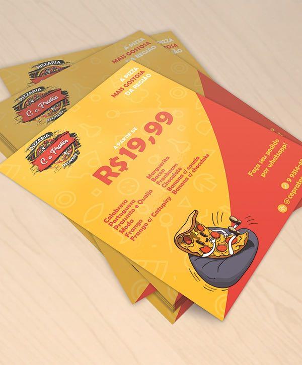 Flyer criado para a C&Prates Pizzaria.