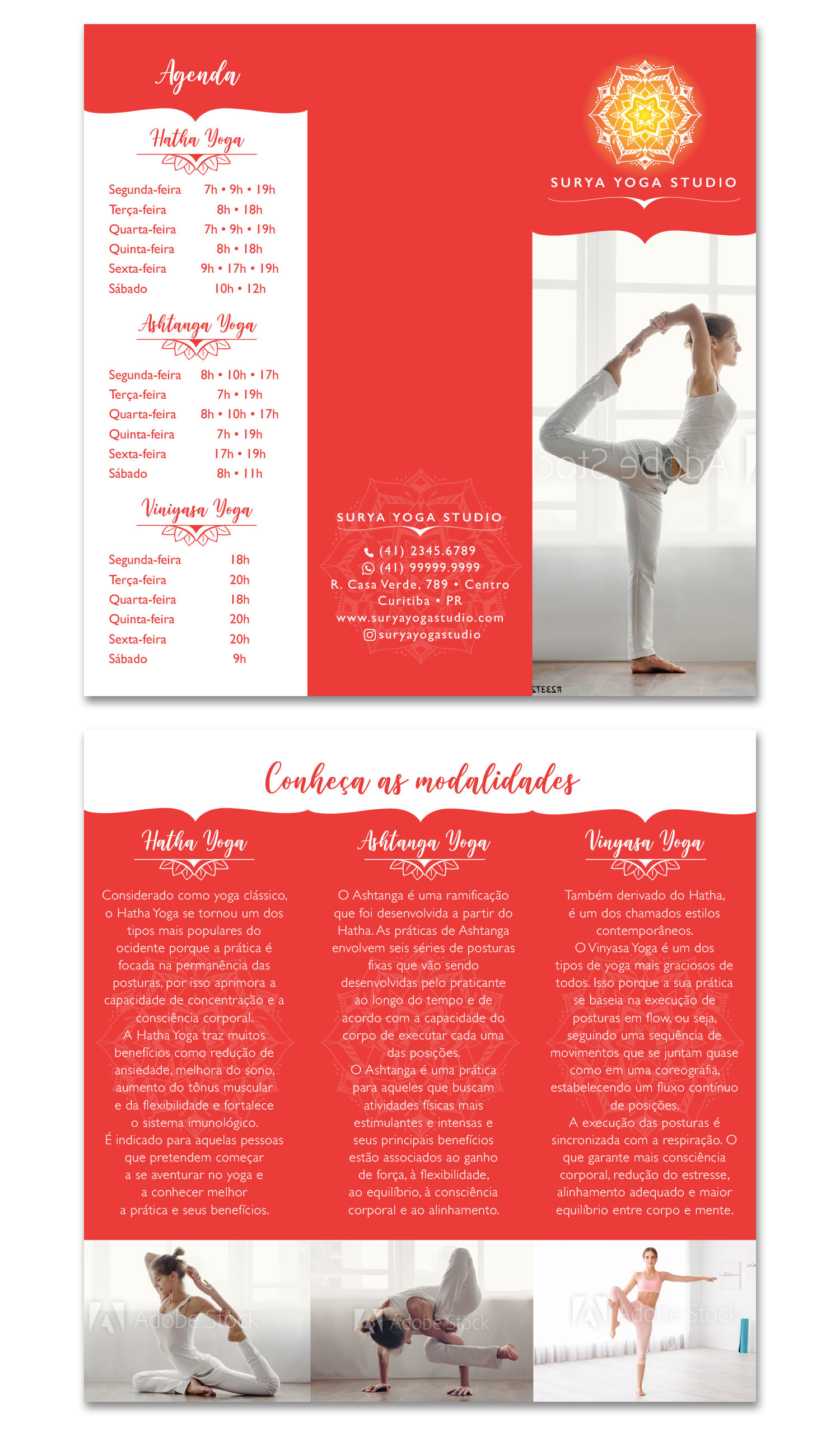 Layout de folder para studio de yoga