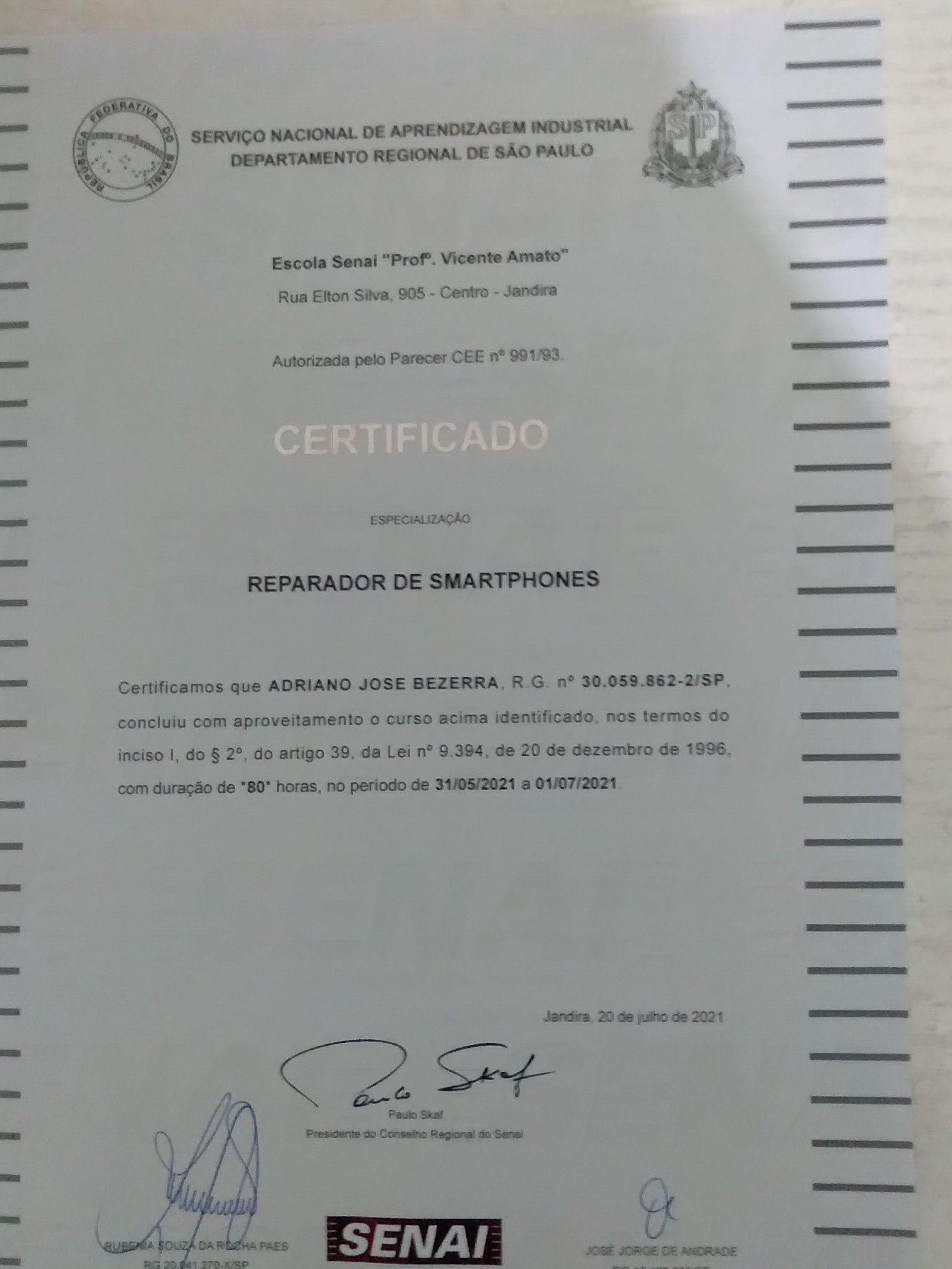 Senai certificado
