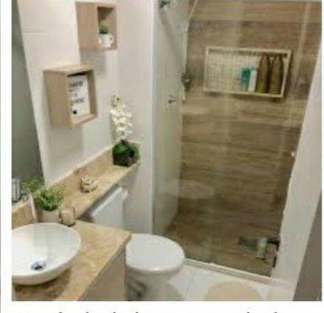 banheiro pia box e armário porta chão