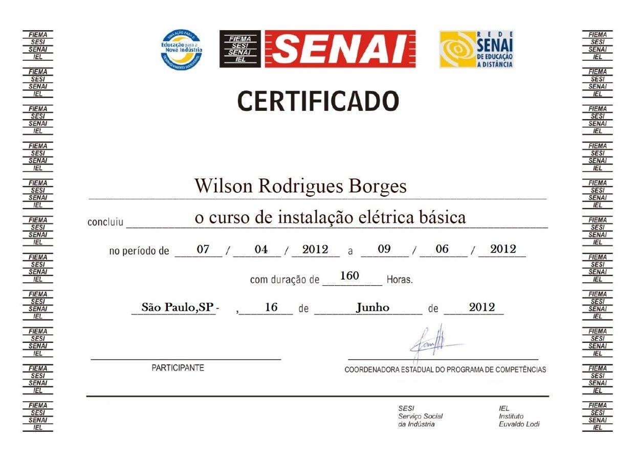 Certificado  do SENAI SP