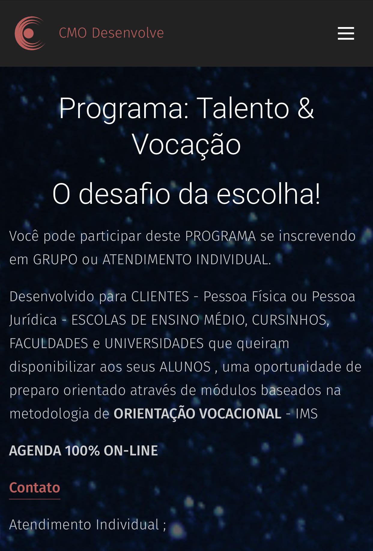 Programa Talento e Vocação - 100% On-line