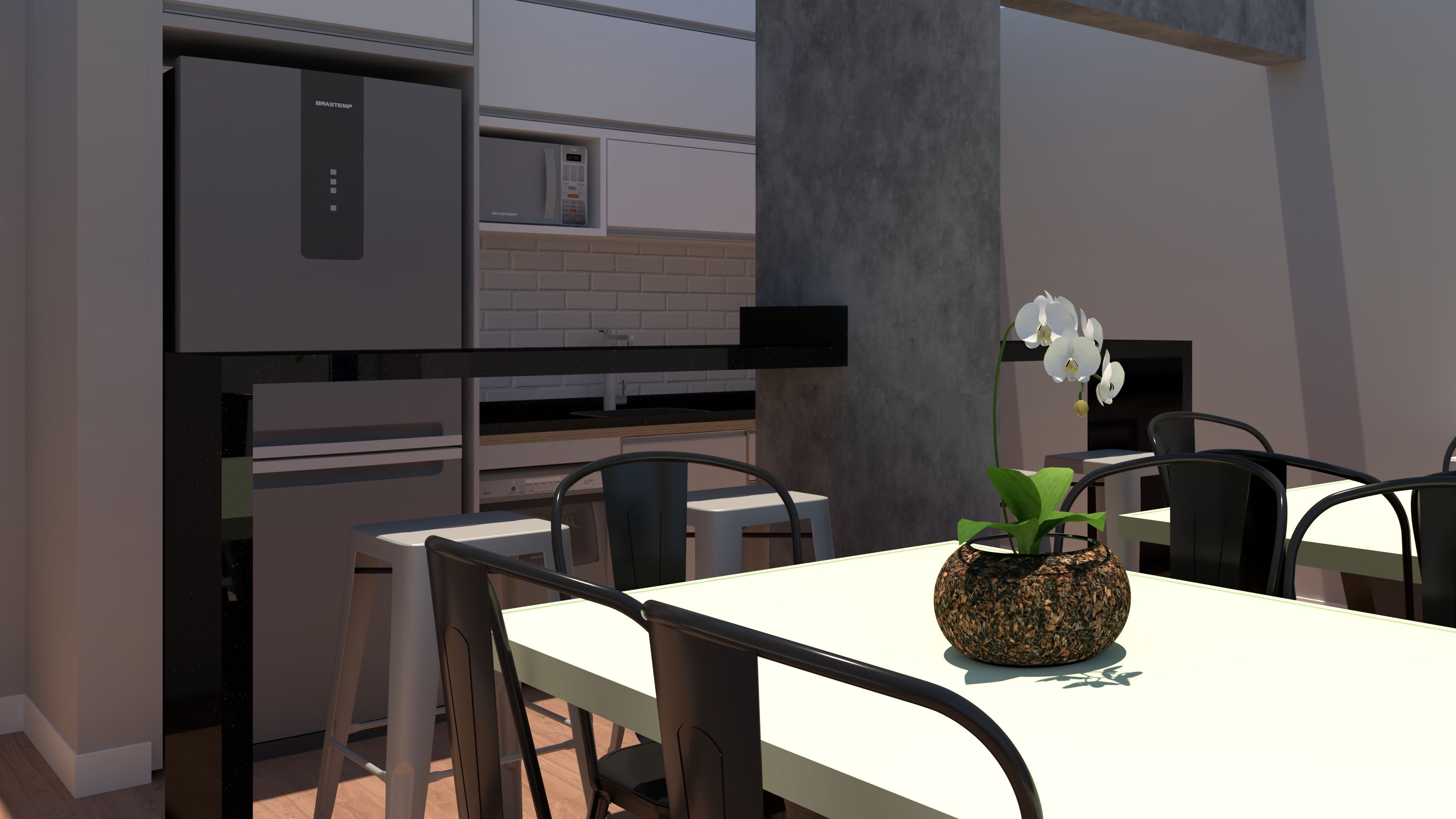 Projeto de cozinha americana e sala de jantar.