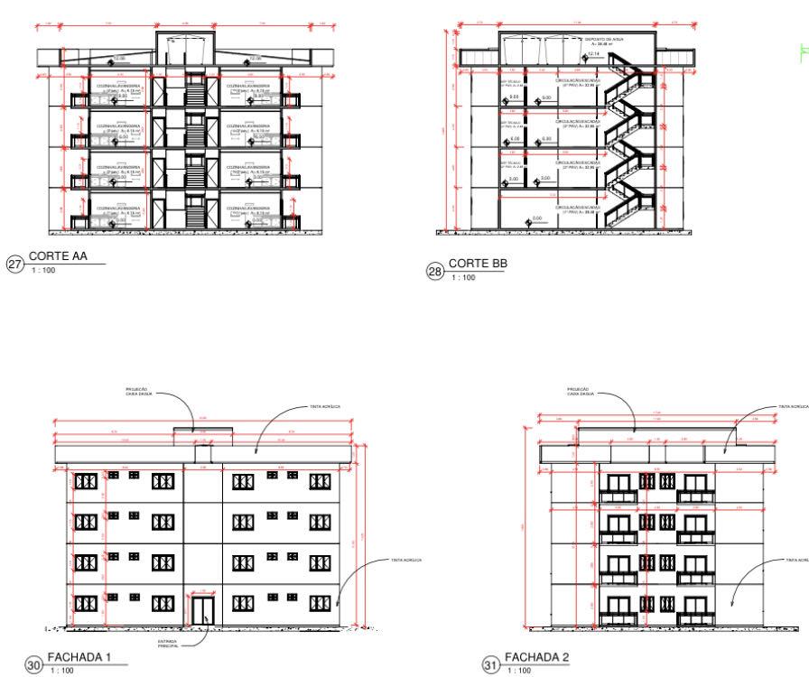 Detalhamento vertical de um edifício
