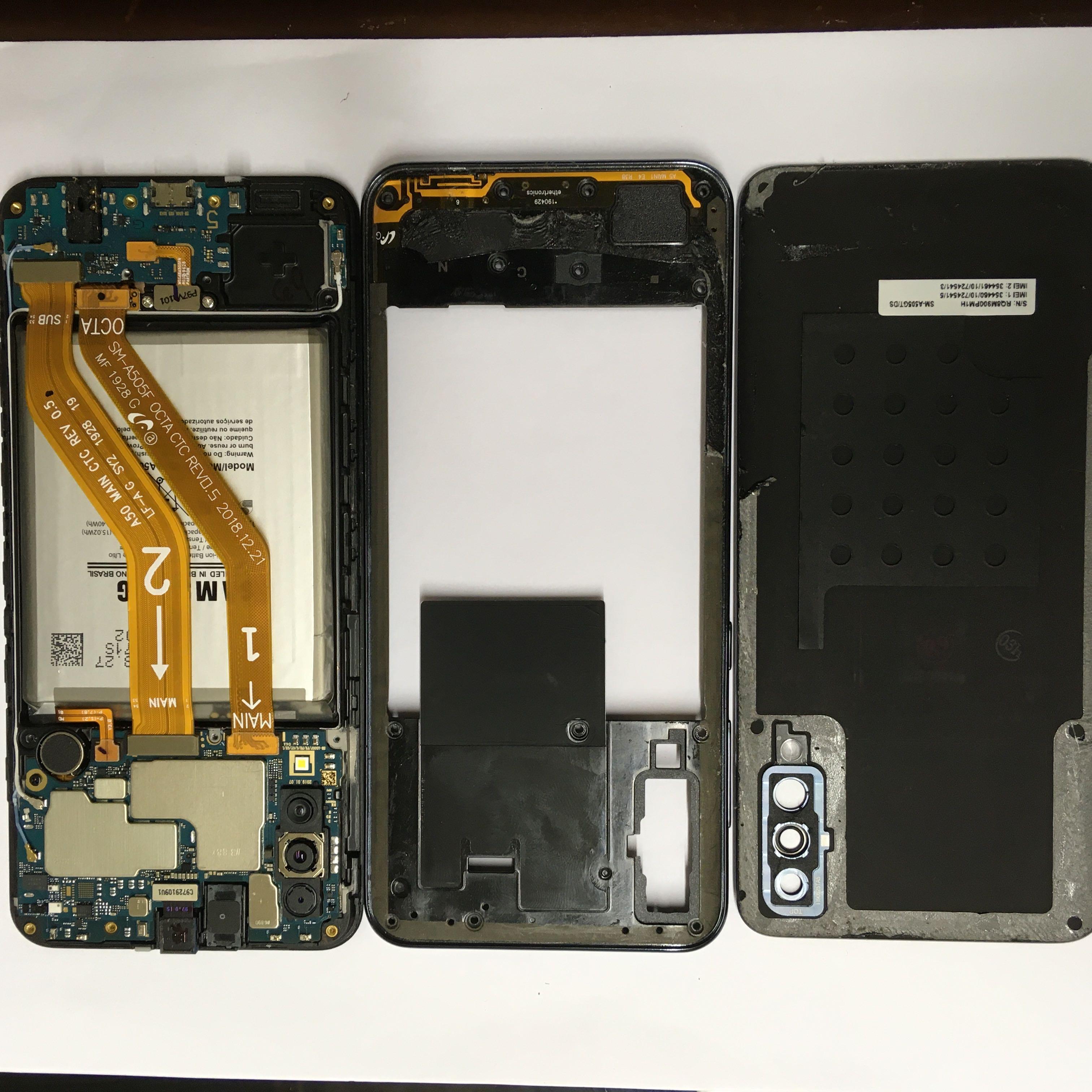 Troca de tela Galaxy A50 - abertura aparelho