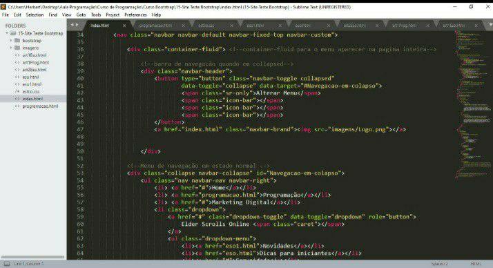 Programação do site