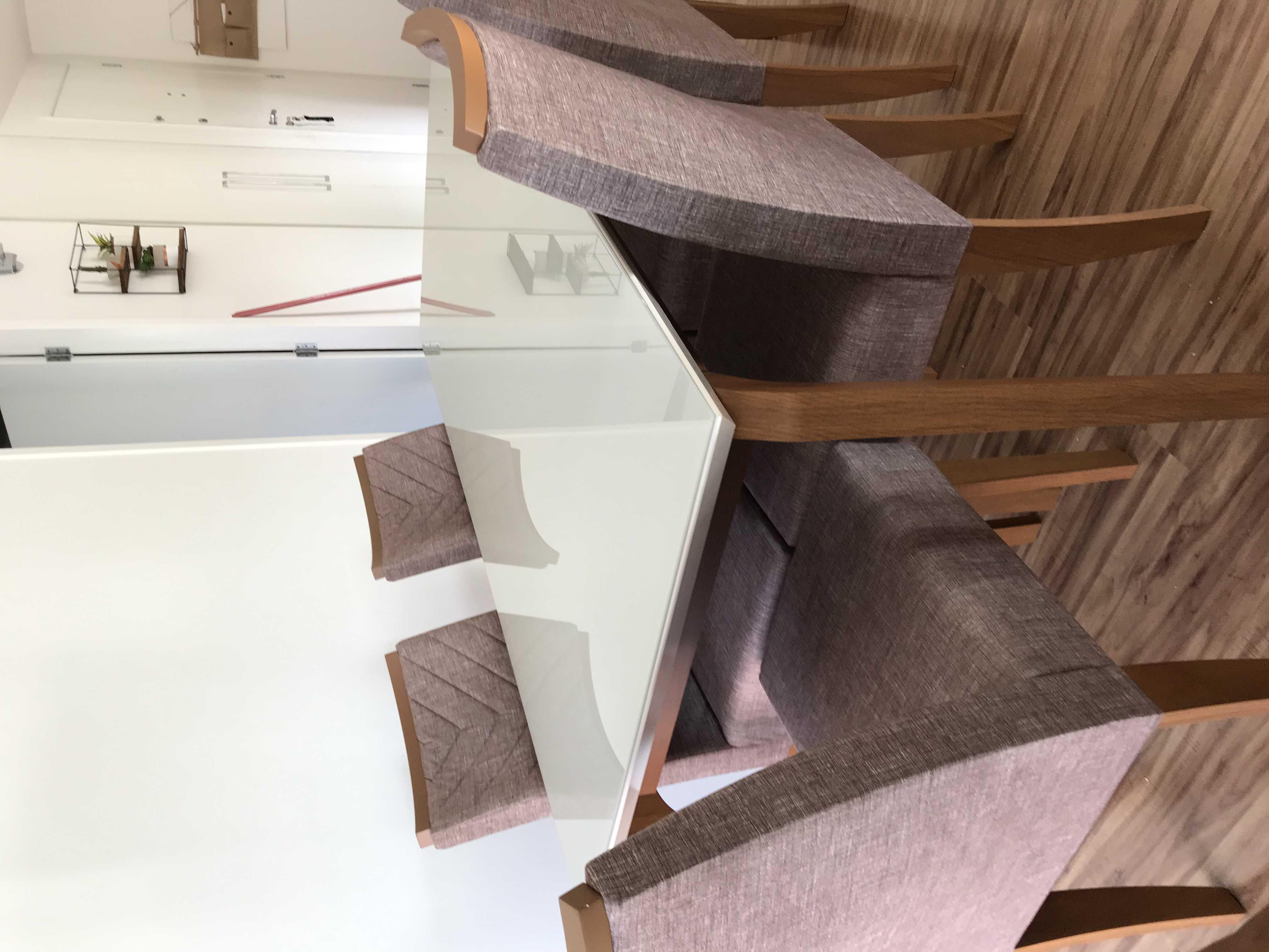 Mesa mdp de vidro, 6 cadeiras