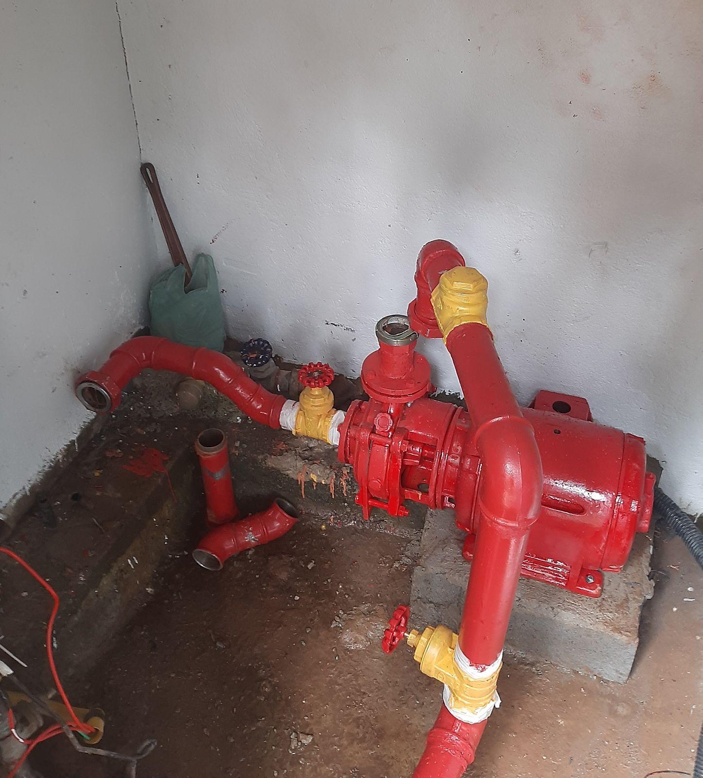 instalação do barrilete da Bomba de incêndio.