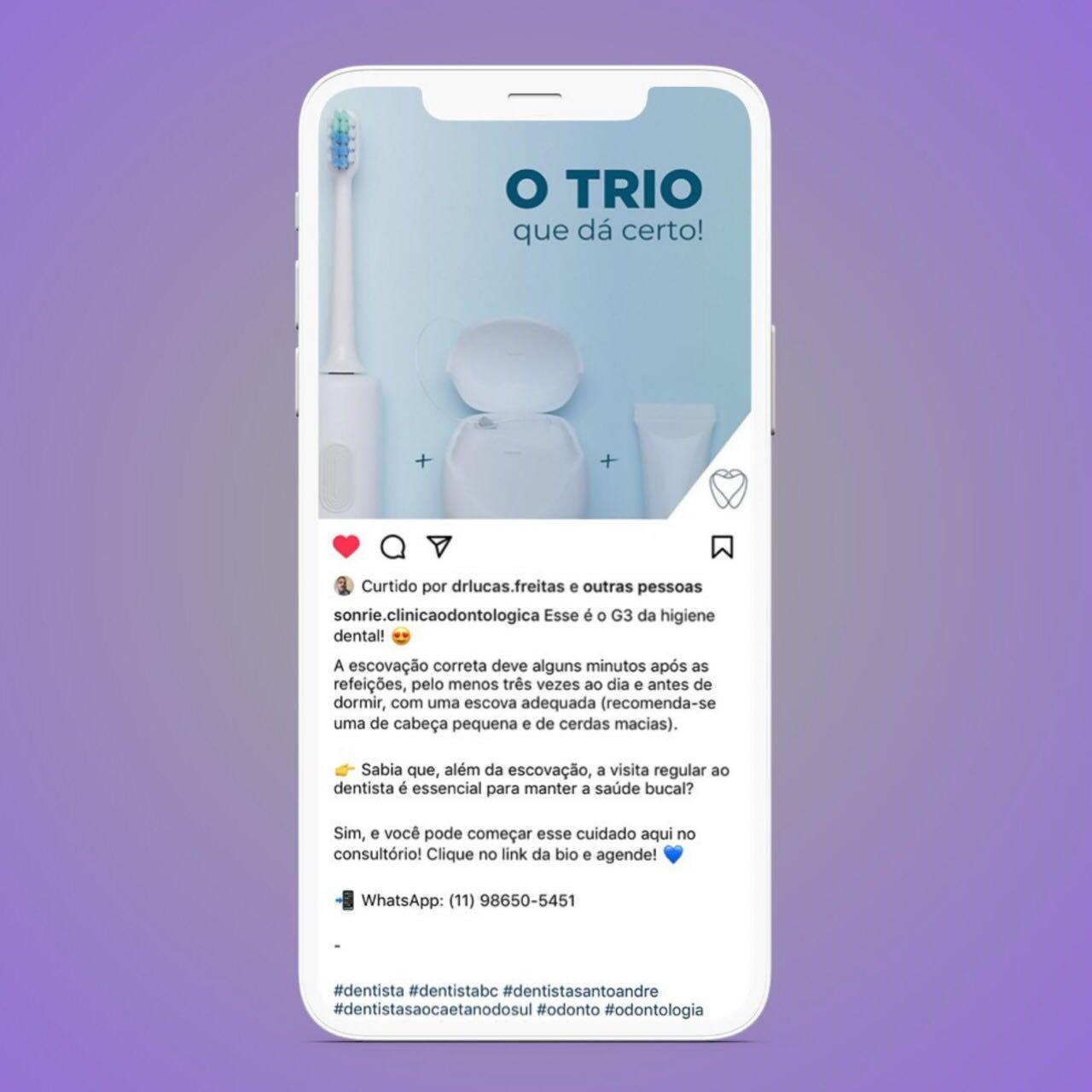 Conteúdo Redes Sociais - Instagram Dentista