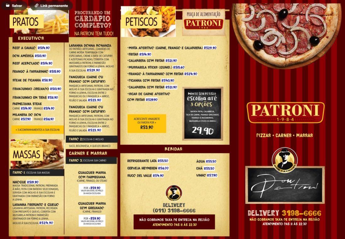 Cardápio para o restaurante Patroni.