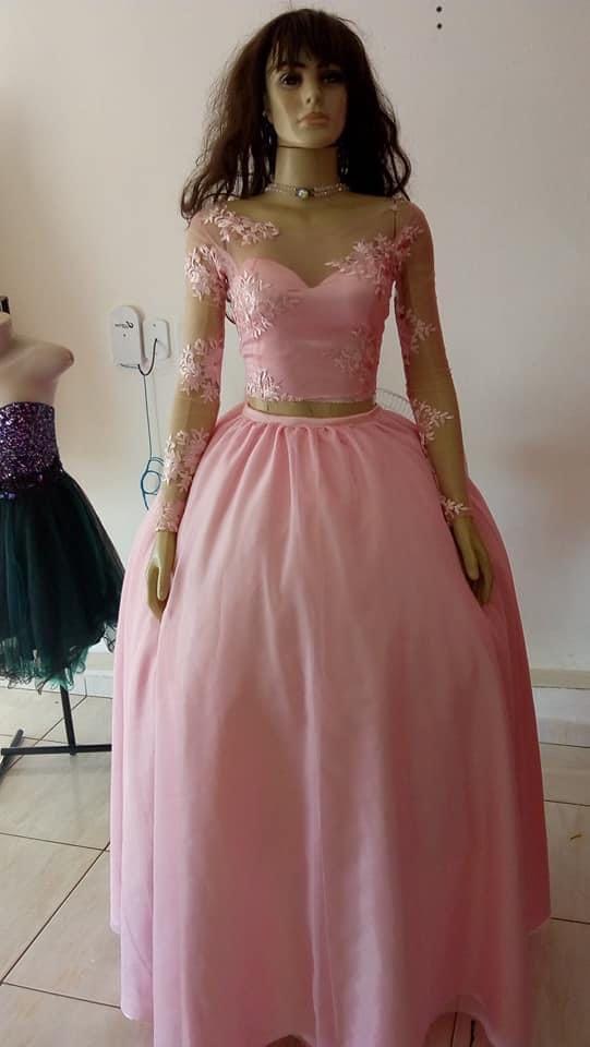 Vestido debutante rosa bebê