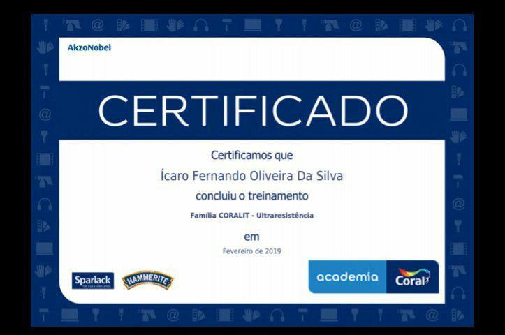 Certificado de conclusão do curso academia coral