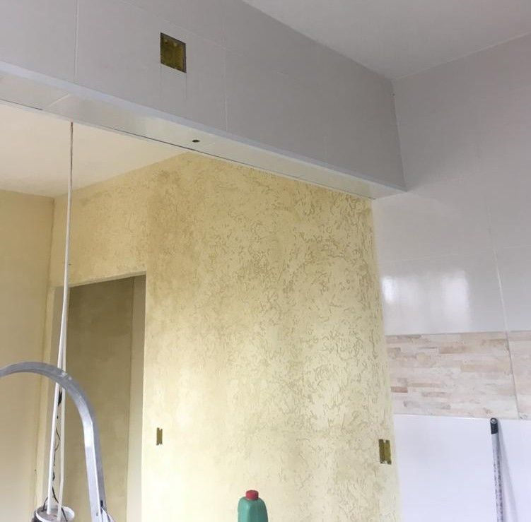 Sala e cozinha integrada Grafiato   massa corrida