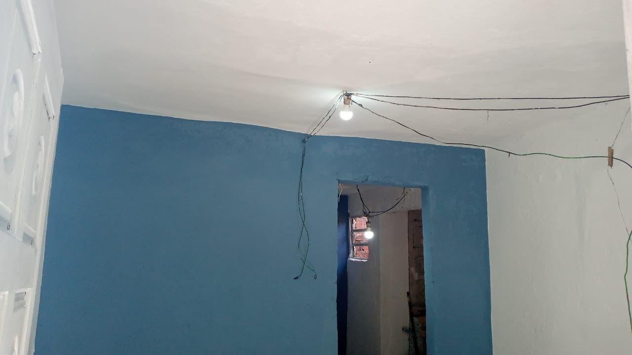 Cozinha Branco e Azul parede