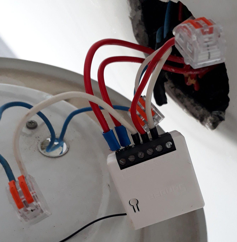Instalação de Mini Sonoff caixa de passagem teto.