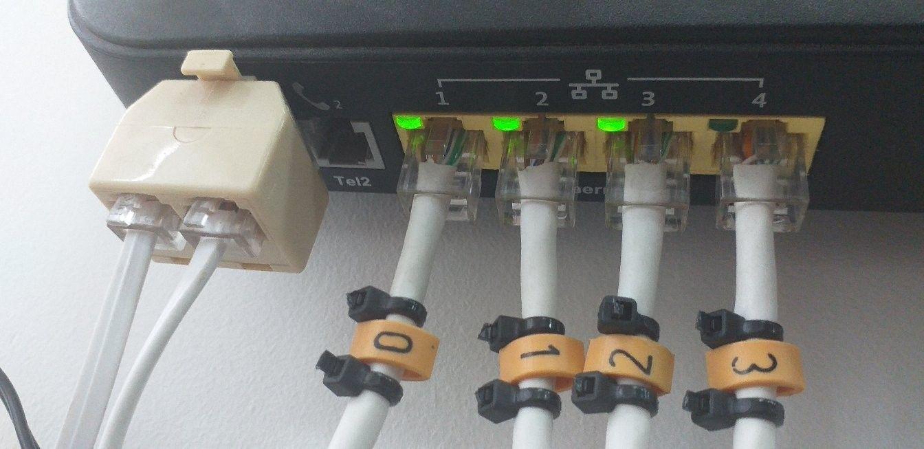 Distribuição via cabo internet para dispositivos