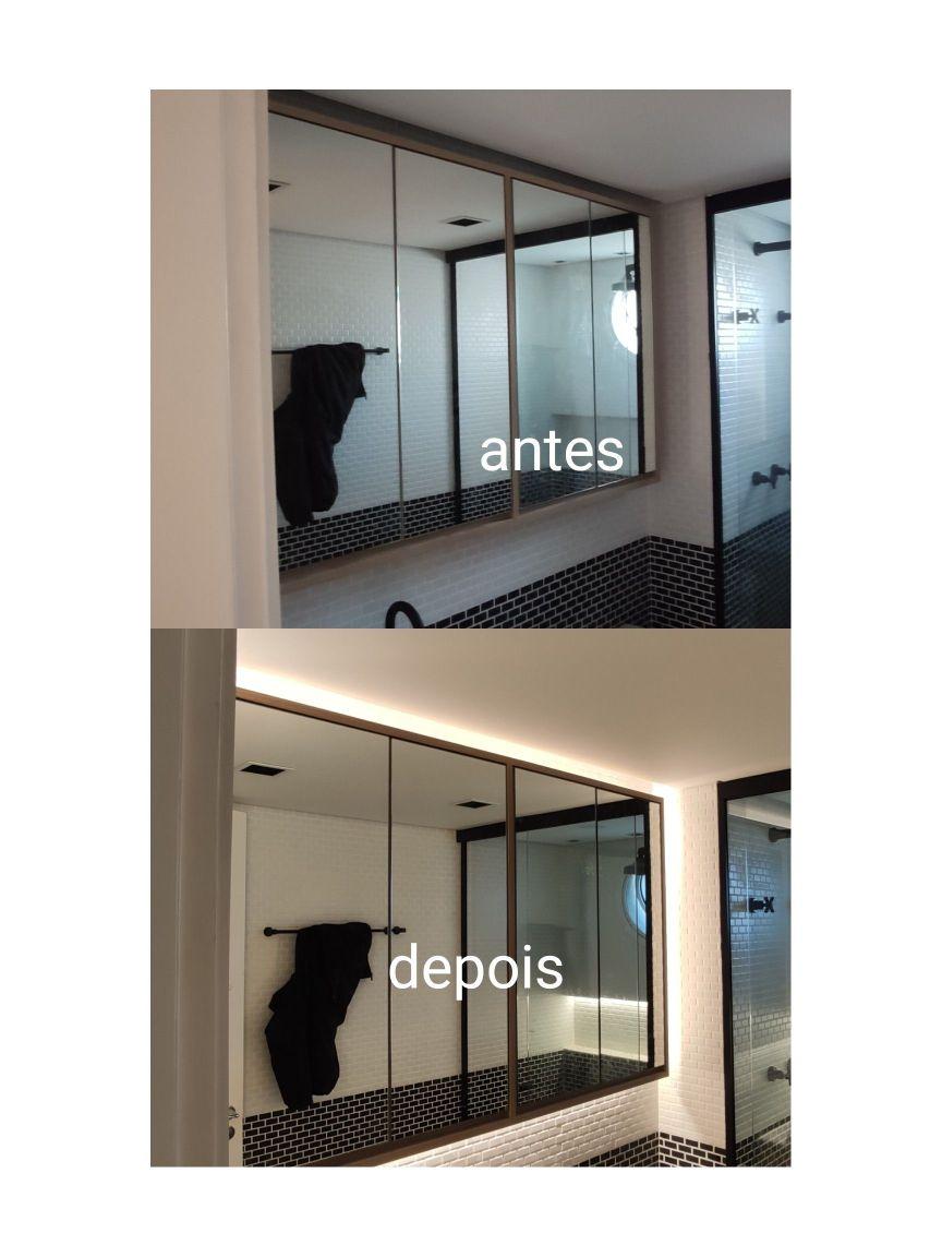 Instalação de fitas de led em espelho