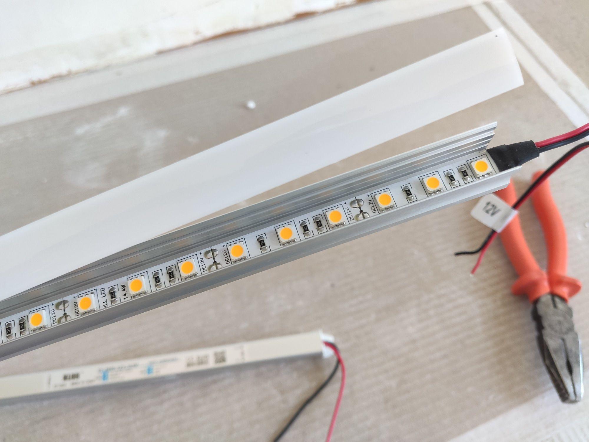 Preparação para instalar fita de led em sanca
