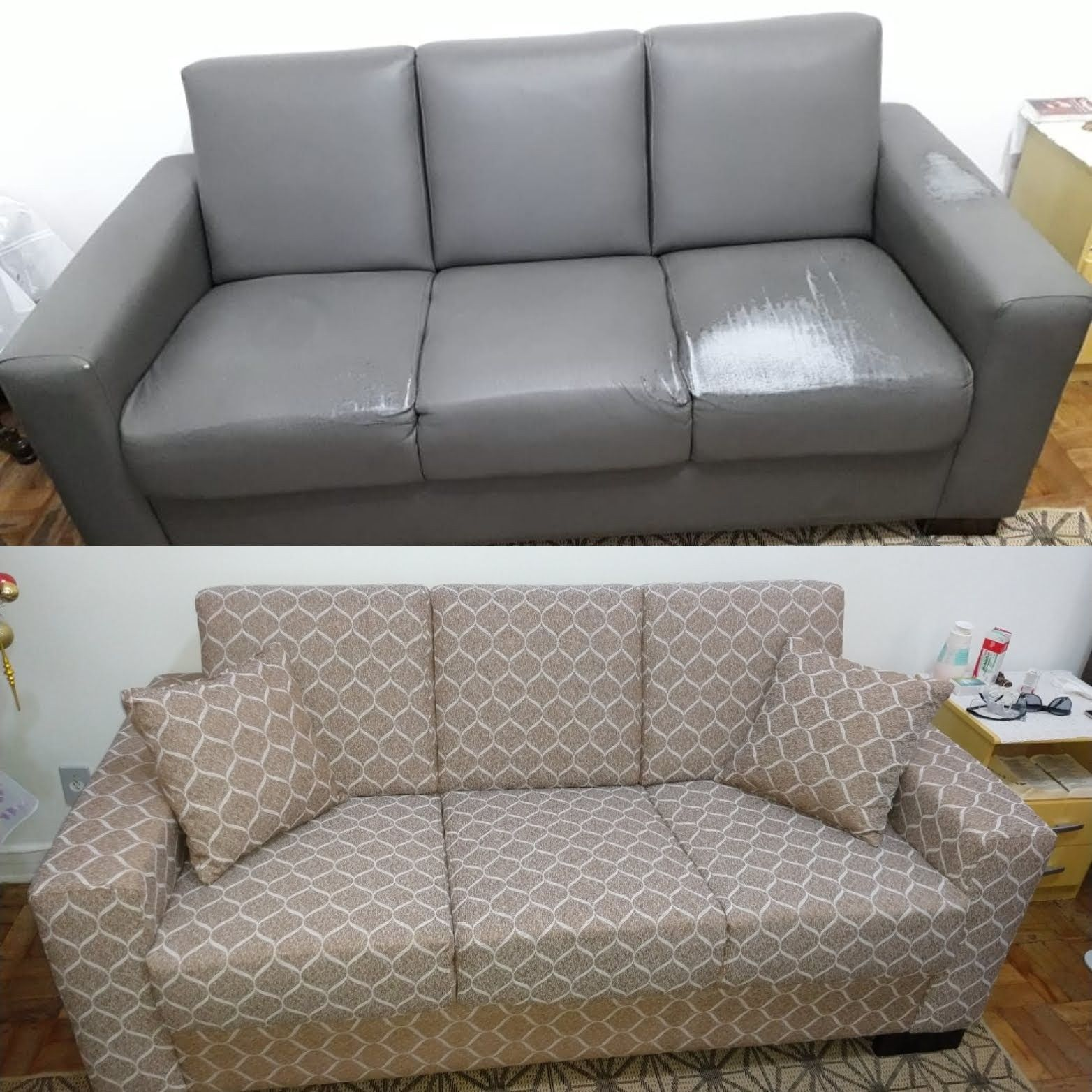 antes e depois tecido jacquard impermeabilizado