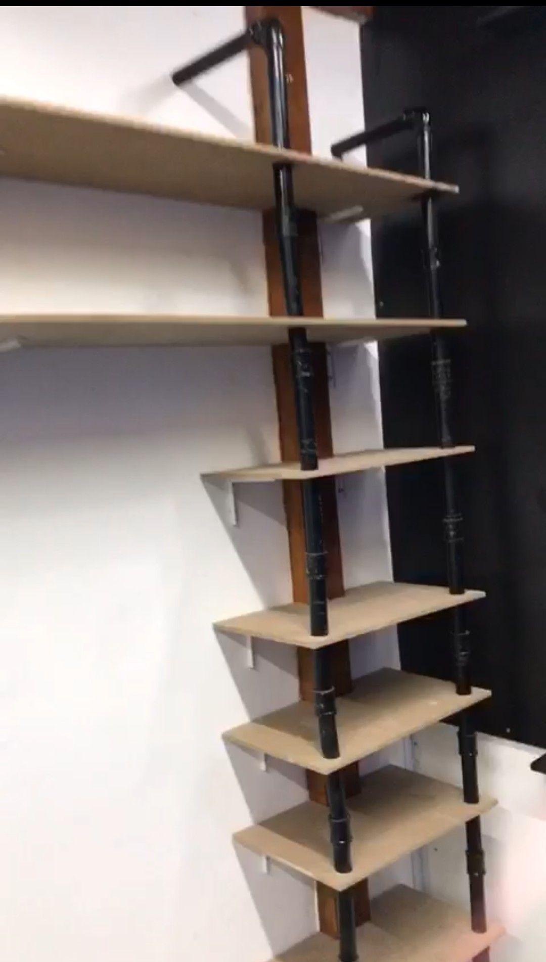 montagem de estante  MDF + efeito industrial canos