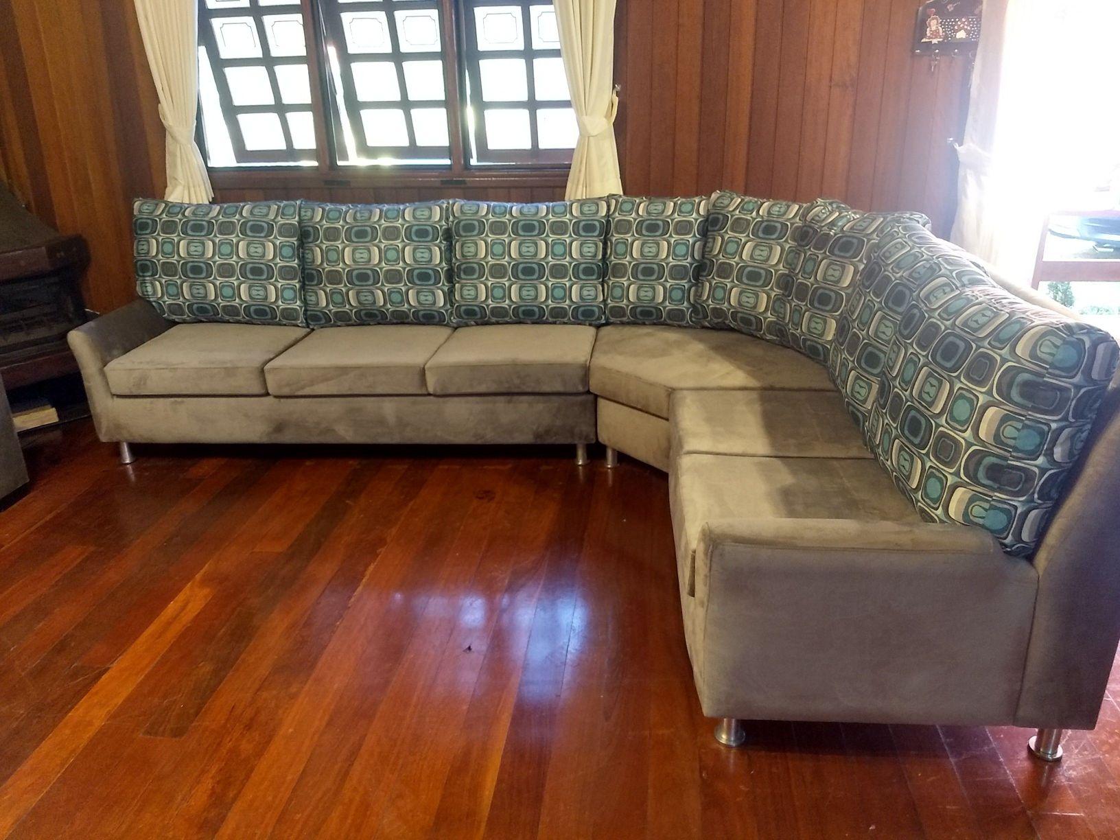 restauração sofá Etna. Tecido Suede veludo.
