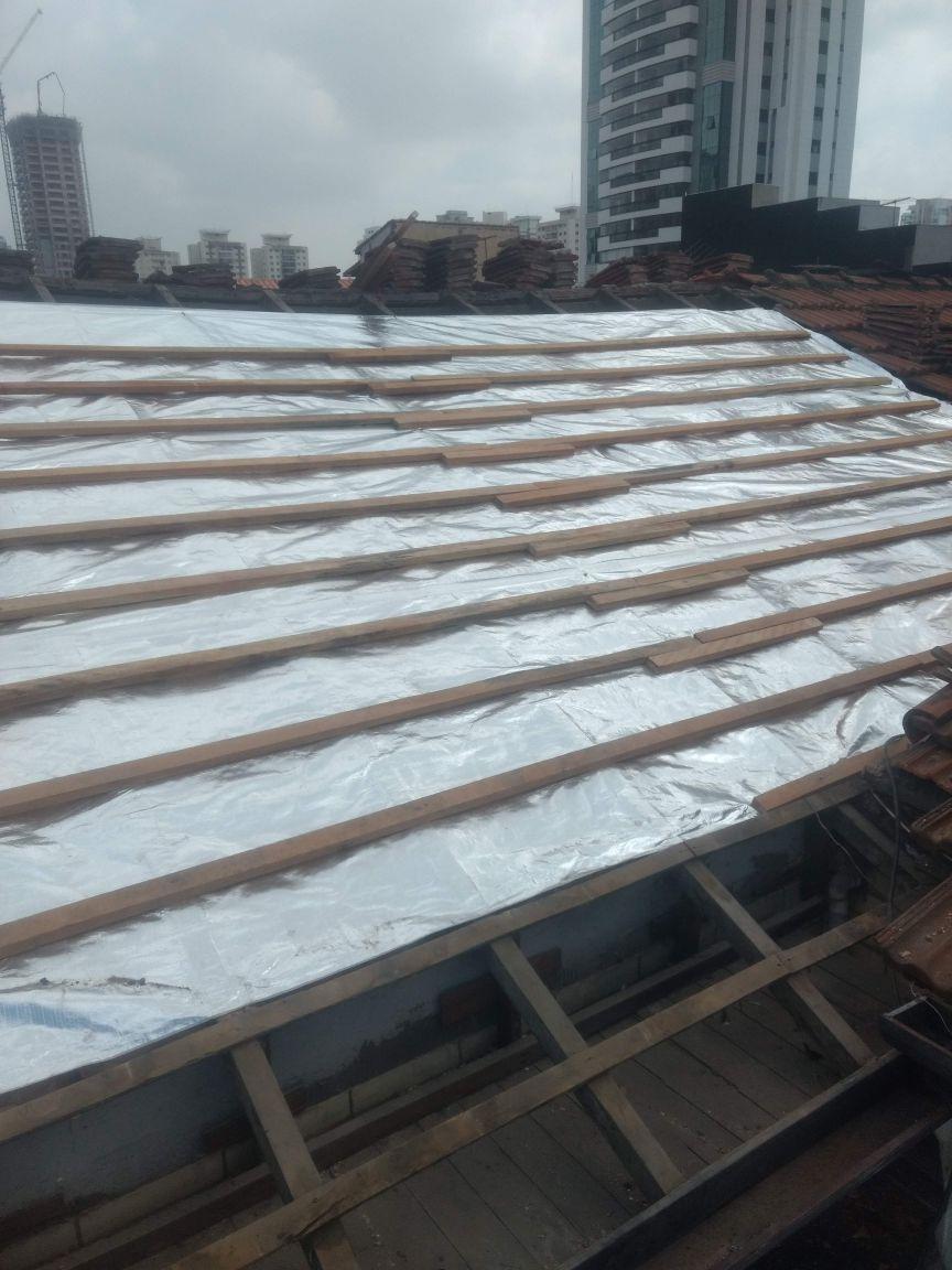impermeabilização em telhado com manta térmica