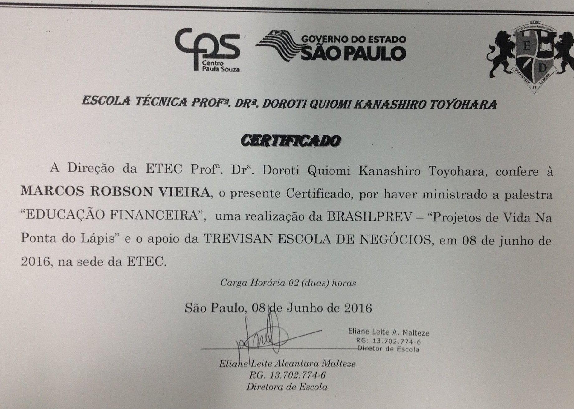 Certificado de Palestrante de Ed. Financeira