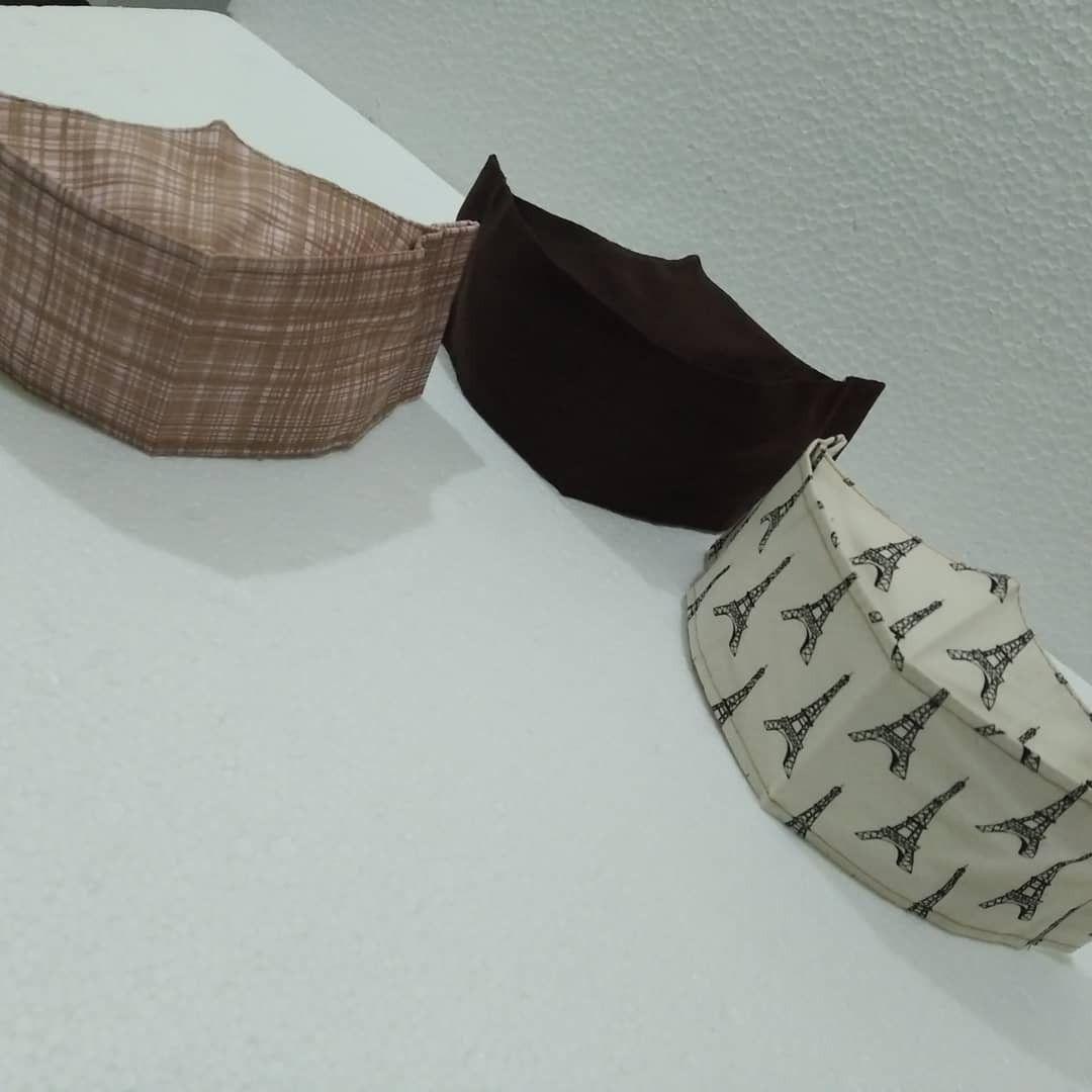Máscara 3D de tecido tricoline