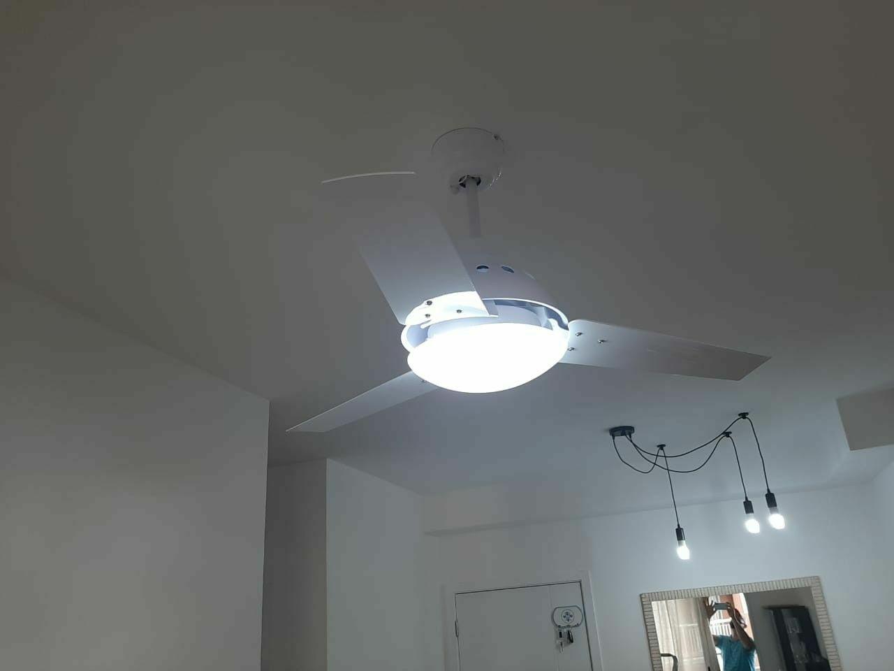 instalação ventilador teto com controle