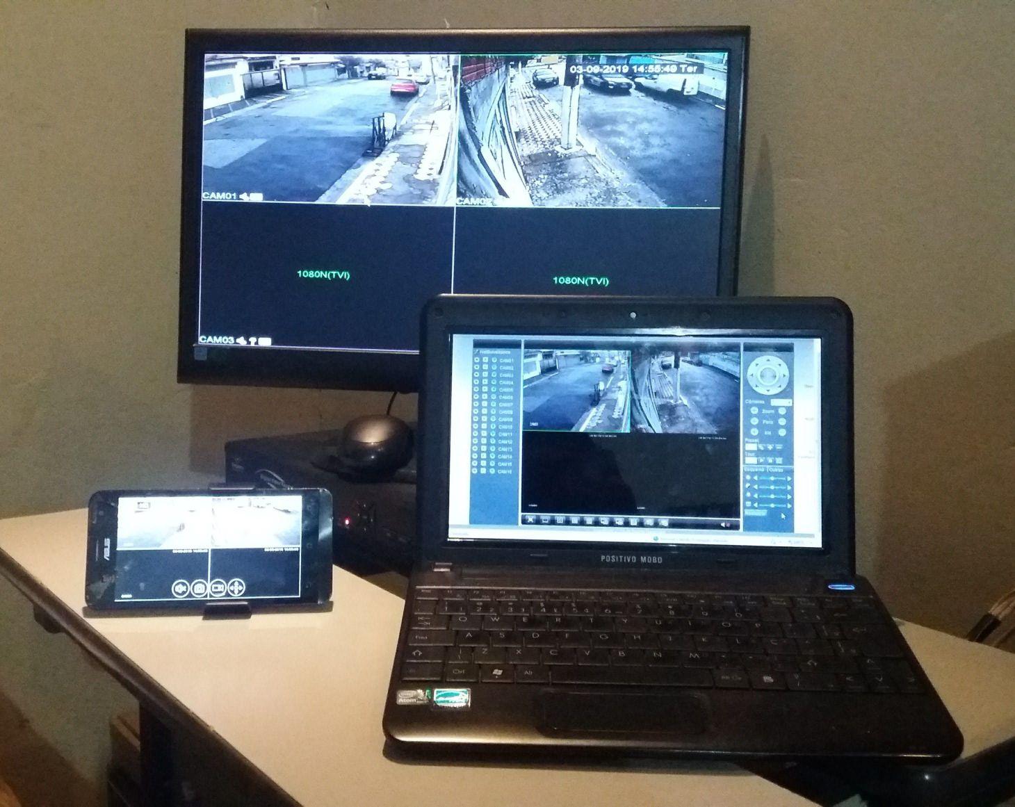 Monitoramento de câmeras: PC, Celular e TV.