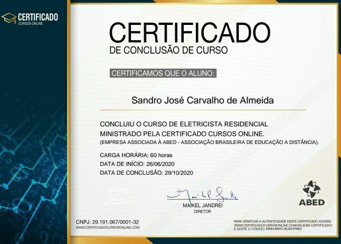 Certificado eletricista.