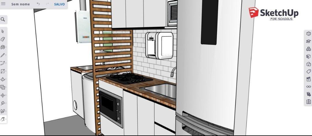 projeto 3D de cozinha.