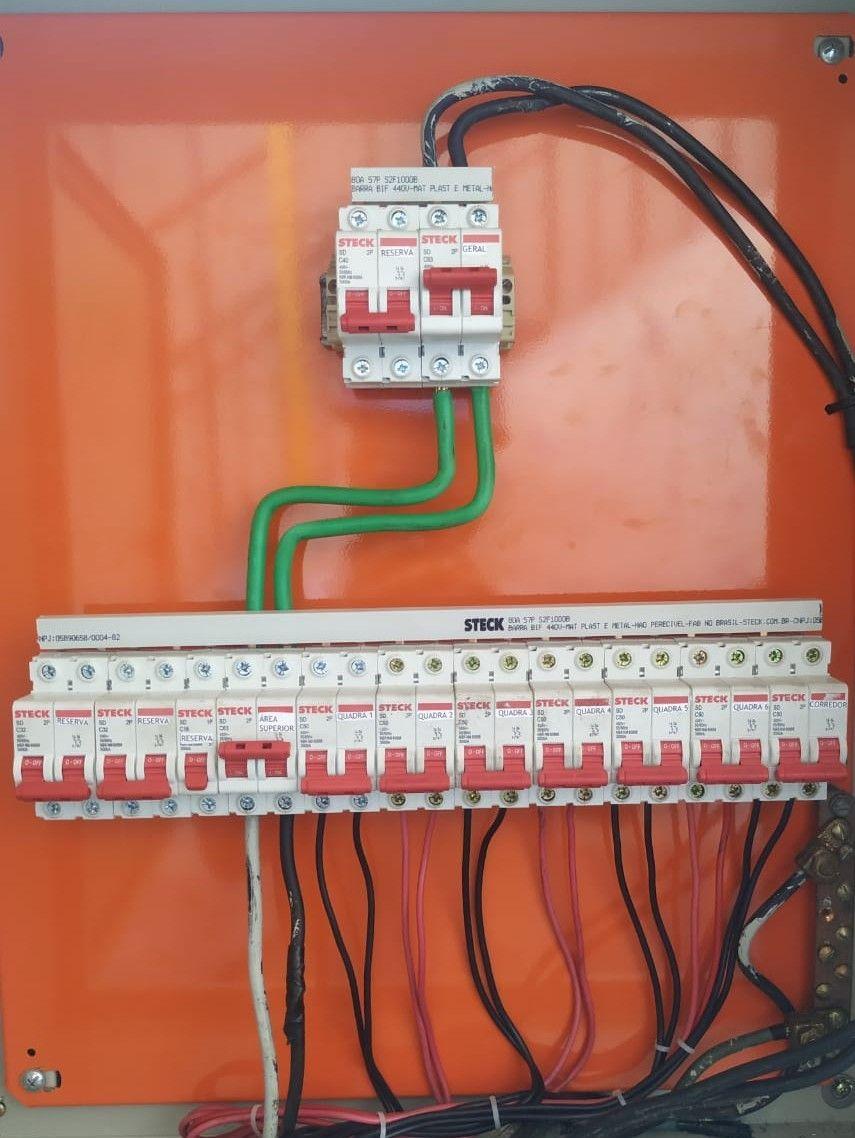 quadro de disjuntores, para iluminação de quadras.