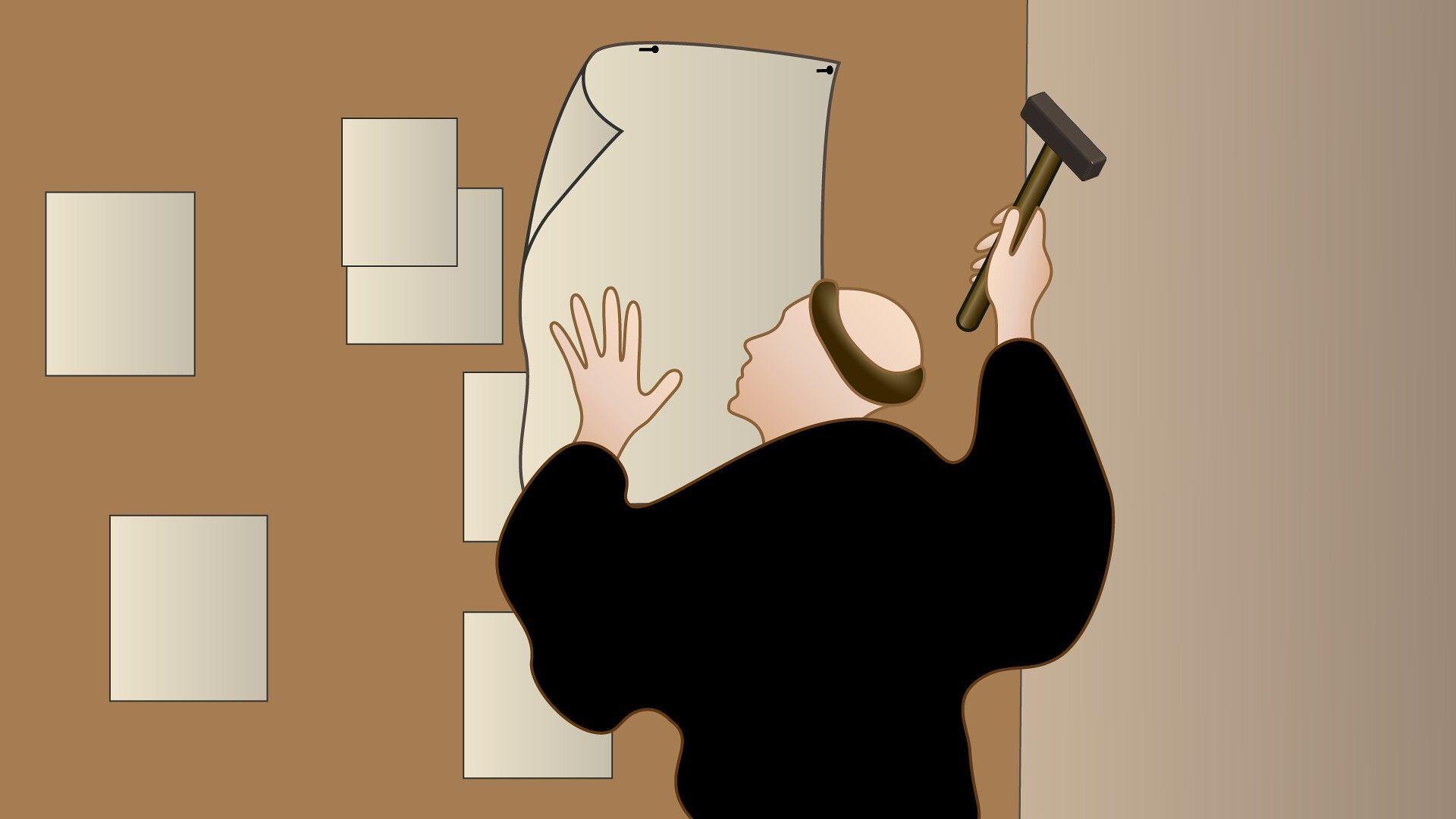 Ilustração: Lutero pregando as 95 teses
