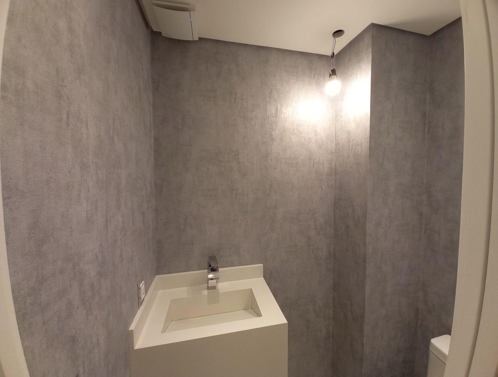 lavabo com papel efeito cimento queimado