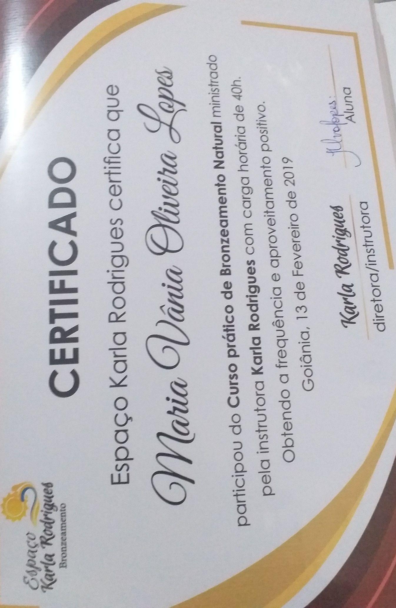 Certificado de mais um curso.