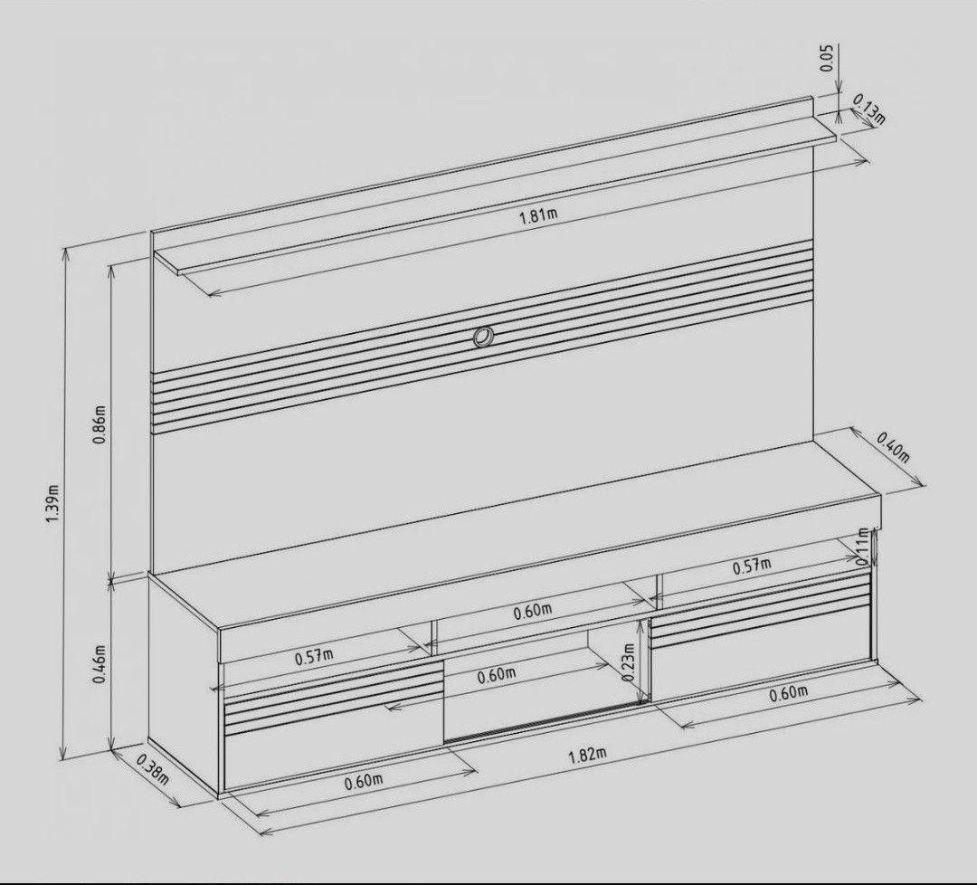 Dimensões do Painel e Rack montado no cliente.