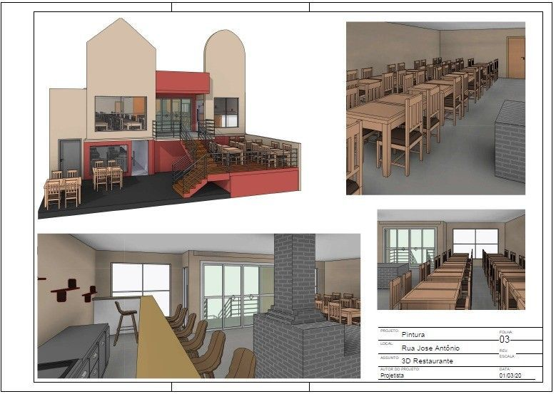 projeto fachada e interior restaurante(reforma)