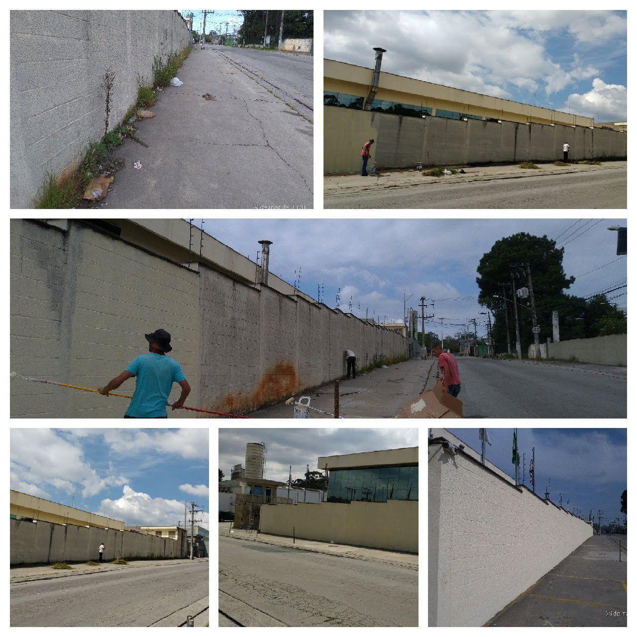 Antes durante e depois pintura Muro externo