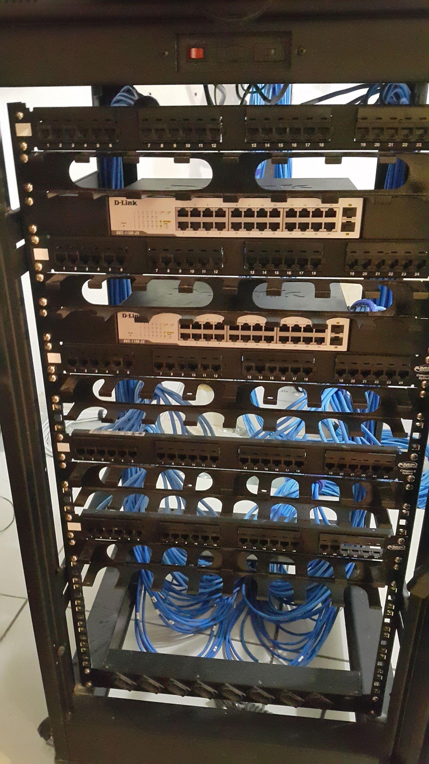 Montagem de rack de distribuição interna de redes