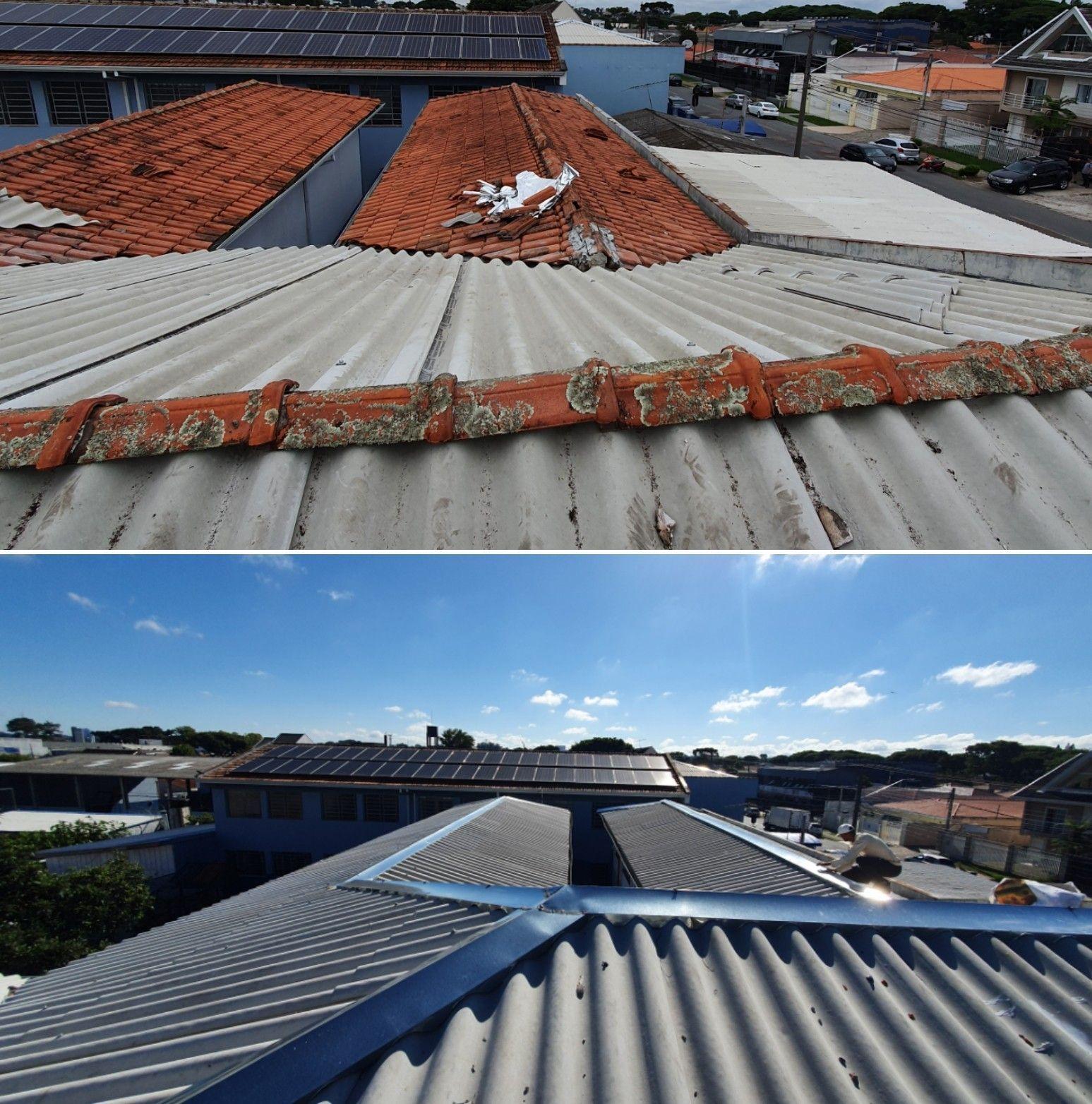 Troca de telhado, calhas e manta térmic