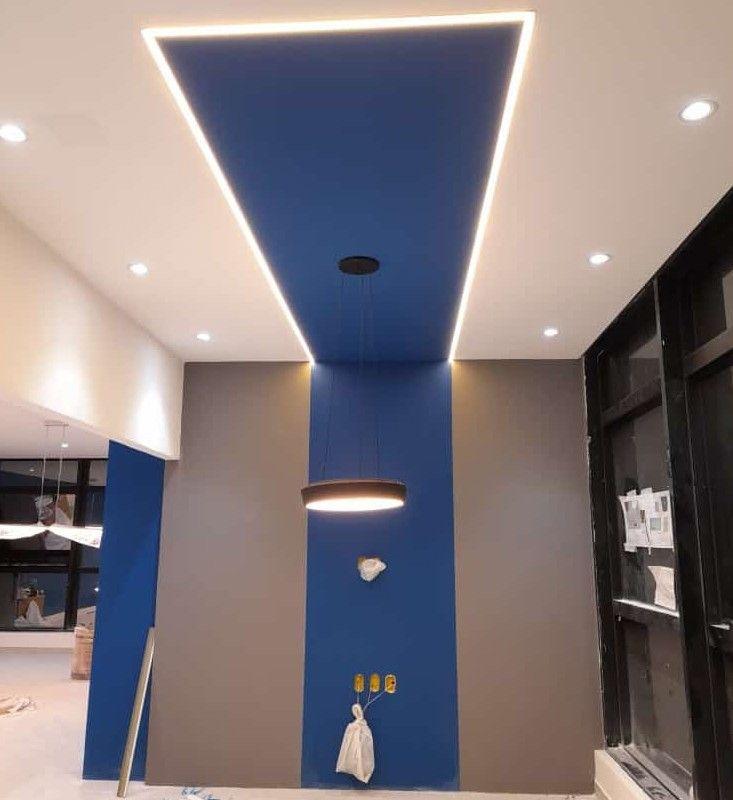 pintura de teto e paredes luminária à vista