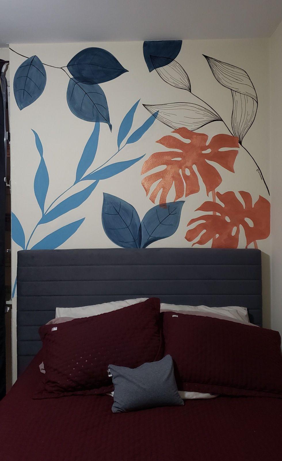Pintura parede cabeceira quarto